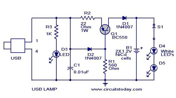 usb led lamp circuit using 5 volts rh circuitstoday com usb pinout wiring usb port wiring schematic