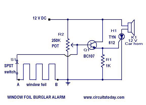 Simple Power Window Wiring Diagram : Burglar alarm circuit and projects diy