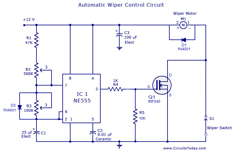 automatic wiper control circuit using ne 555 ic wiper speed control