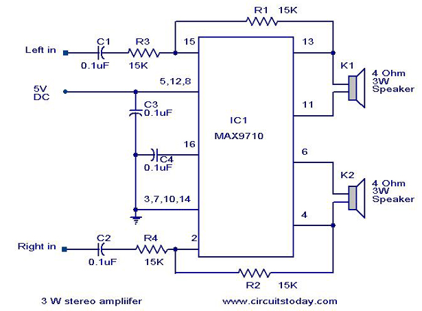 3 w stereo amplifier using max 7910 audio power amplifier circuit rh circuitstoday com audio amplifier circuit diagram using transistor audio amplifier circuit diagram using transistor