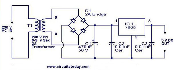 5V power supply using 7805 IC with circuit diagramCircuitsToday
