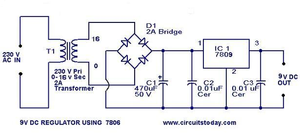 9 V Regulator Using 7809 on battery charger circuits schematic