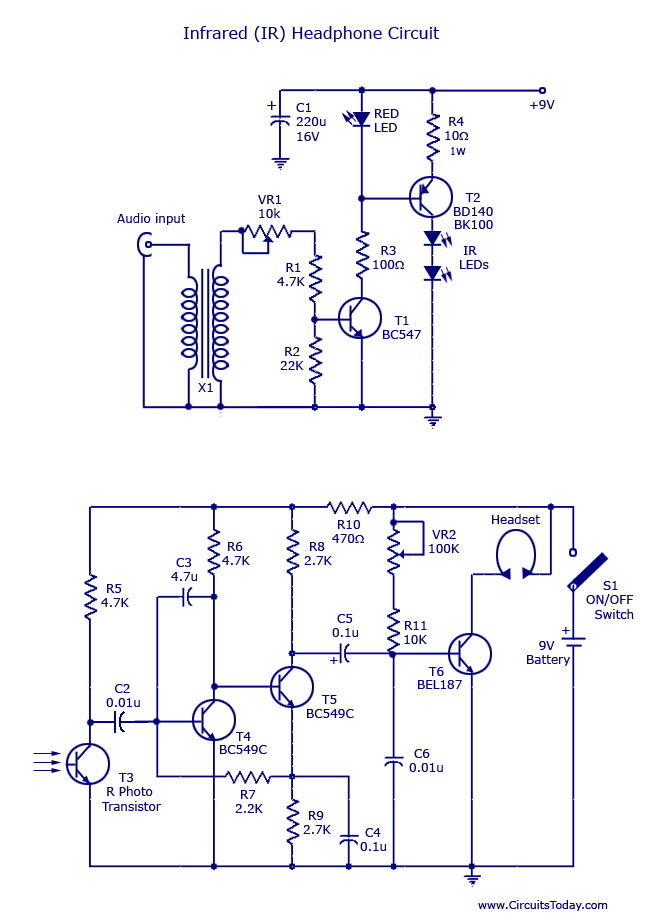 ir headset circuit with headphone transmitter and receiver diagram, circuit diagram