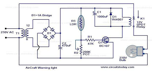 Low Cost Air Craft Warning Light Circuit using LDR