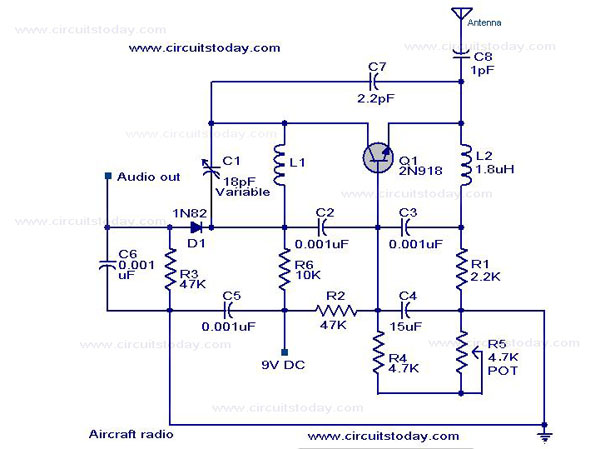 Simple aircraft radio circuit - Circuit Diagram,Working