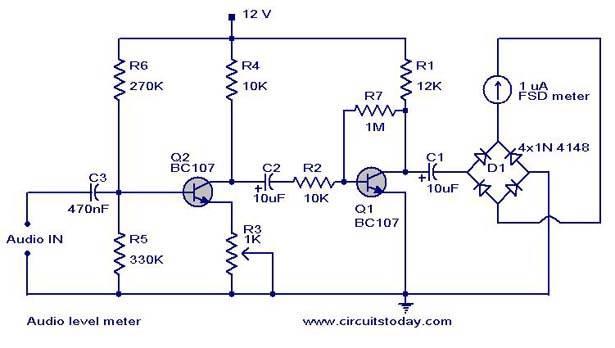 audio level meter circuit vu level meter rh circuitstoday com