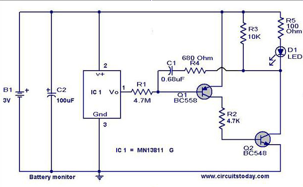 Battery Level Indicator Circuit