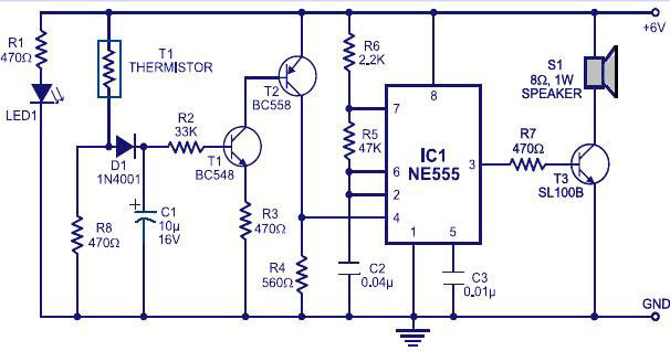 fire alarm circuit using ic 555 and thermistor, Wiring block