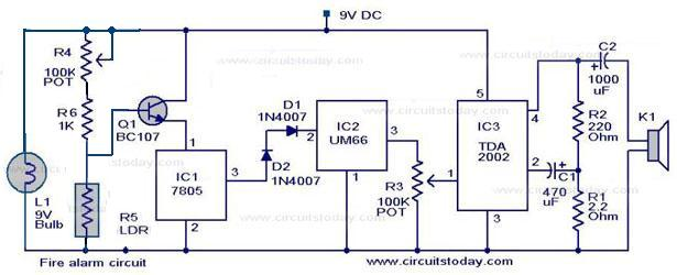 simple fire alarm circuit using ldr, Wiring block