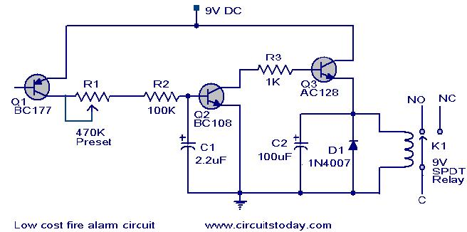 low cost fire alarm circuit-working,circuit scematic, Wiring block