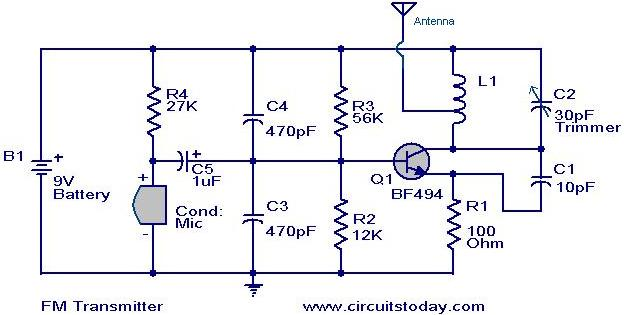 simplest fm transmitter modulation circuit with bf494 radio rh circuitstoday com fm radio transmitter circuit diagram pdf fm radio transmitter circuit diagram