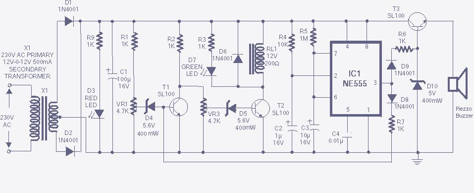high low voltage cut off delay and alarm circuit diagram high and low voltage cut of circuit