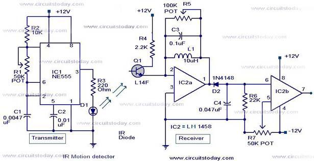 infrared motion detector circuit ir motion sensor circuit withir motion detector circuit