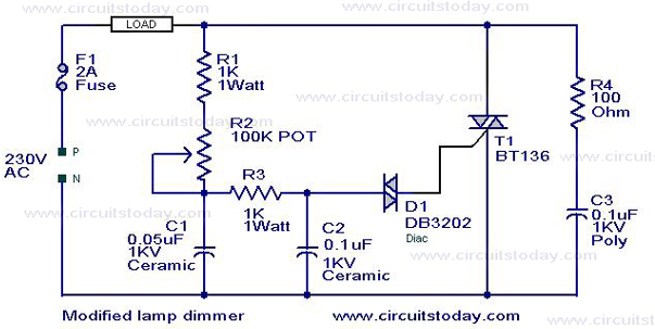 Light Dimmer Circuit Diagram http://www.circuitstoday.com/modified-lamp-dimmer-circuit