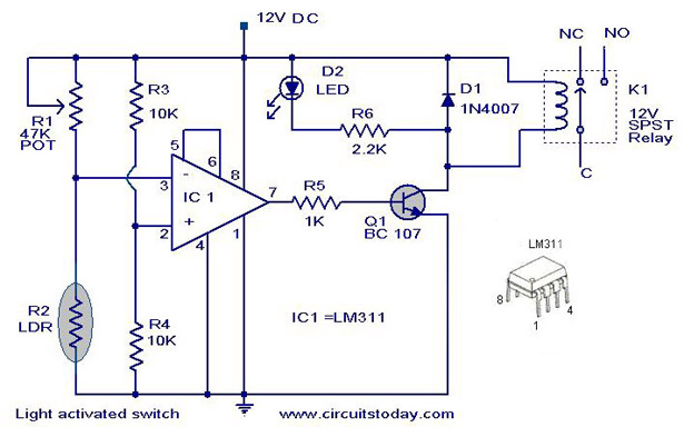 light activated switch circuit rh circuitstoday com LDR Circuit Timing Diagram Diagram LDR Timing Circuit Repeetin