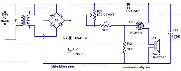 Mains Failure Alarm Circuit on bridge diode power supply