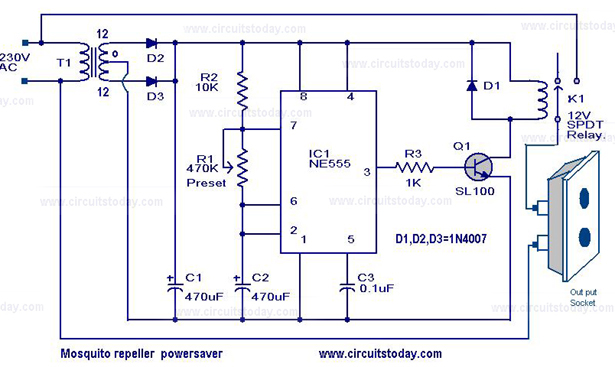 Astounding Mosquito Repeller Power Saver Circuit And Energy Saver Circuit Diagram Wiring 101 Akebretraxxcnl
