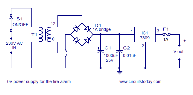 power supply for the circuit simple fire alarm circuit using ldr fire alarm circuit diagram at mifinder.co