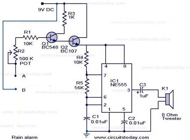 rain alarm circuit science project with rain detector circuit working