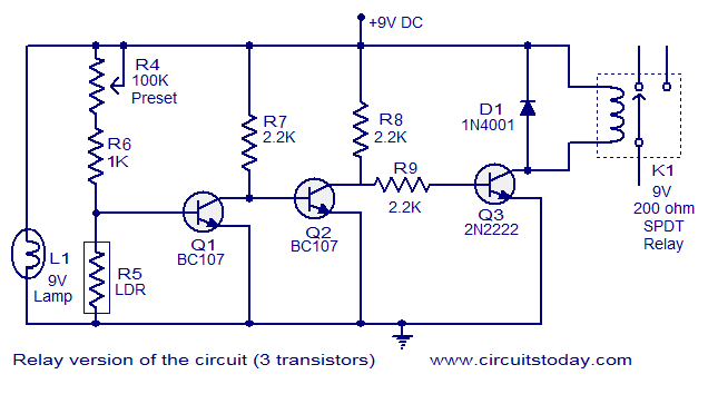 relay version of the circuit 3t1 simple fire alarm circuit using ldr fire alarm relay wiring diagrams at bakdesigns.co
