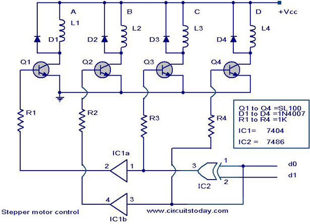 stepper motor controller  driver circuit with circuit design, circuit diagram