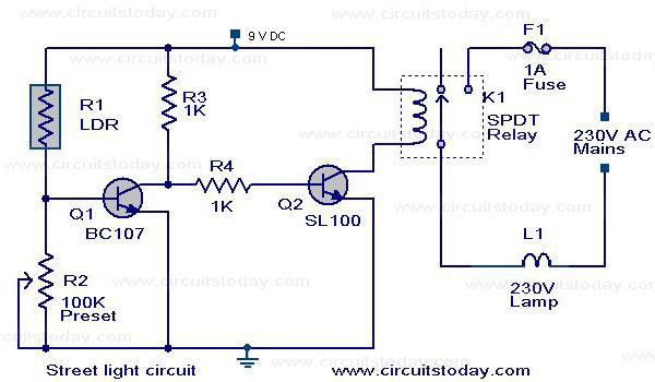 Solar Street Light Circuit Diagram | Automatic Street Light Controller Circuit Using Relays And Ldr