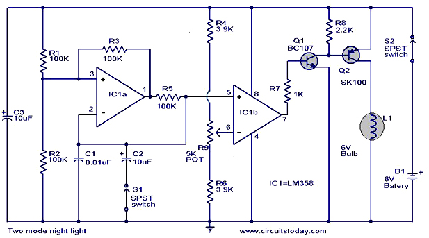 two mode night light circuit two mode night light circuit working,circuit diagram light circuit diagram at fashall.co