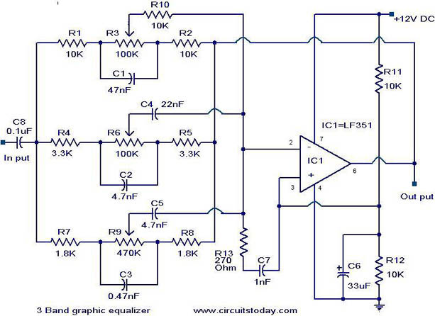 3 band graphic equalizer circuit. - electronic circuits and, Circuit diagram