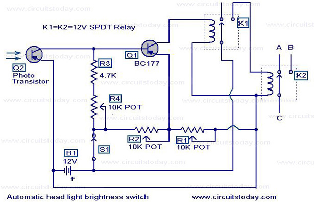 automatic headlight dim switch electronic circuits and diagrams rh circuitstoday com