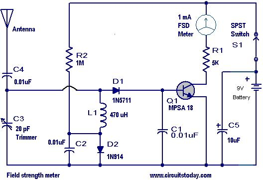 field strength meters circuits electronics tutorial and schematics rh hobbyprojects com field strength meter circuit diagram field strength meter circuit diagram