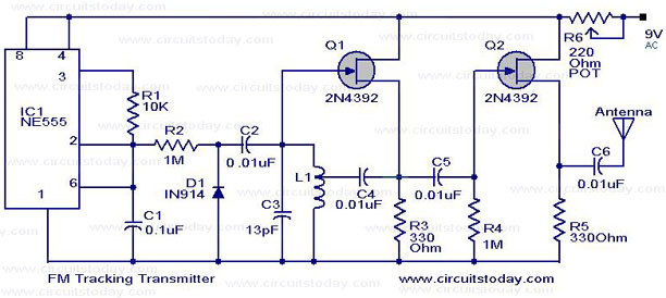 fm tracking transmitter circuit or remote control transmitter circuit rh circuitstoday com