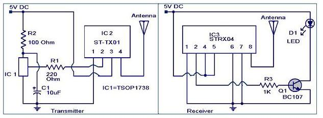 IR to RF converter circuit  - Electronic Circuits and Diagrams