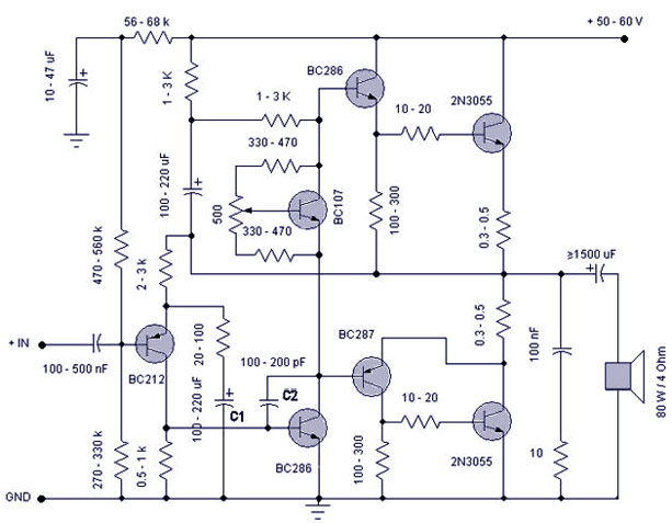 50 W transistor amplifierCircuitsToday