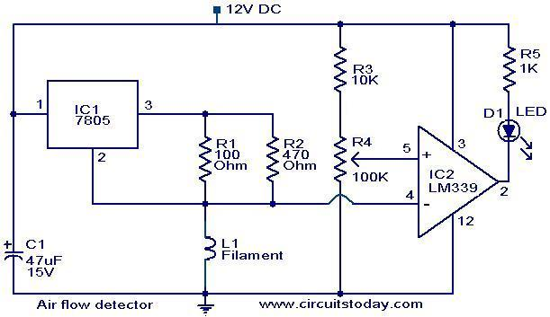 air flow detector circuit.  electronic circuits and diagram, circuit diagram