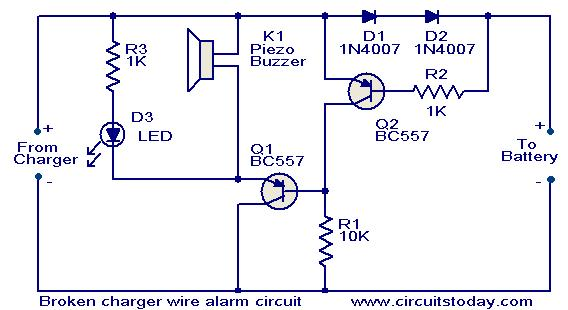 This circuit will produce a visual as well as audible alert whenever the