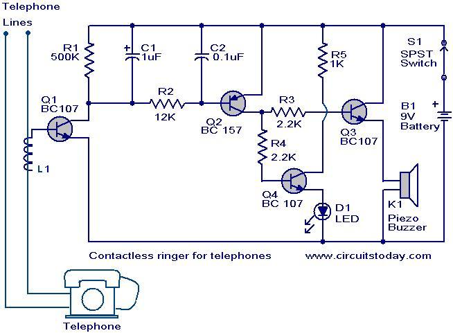 contactless telephone ringer circuit electronic circuits and rh circuitstoday com Telephone Jack Wiring Diagram Telephone Light Diagram