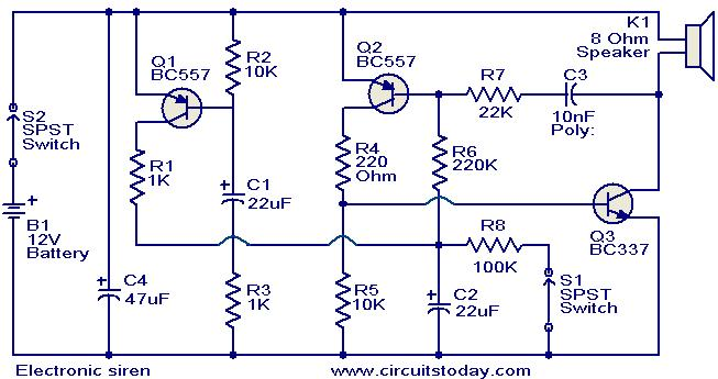 Awesome Electronic Siren Circuit Electronic Circuits And Diagrams Wiring Digital Resources Antuskbiperorg