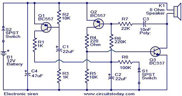 Electronic siren circuit - Electronic Circuits and Diagrams ...