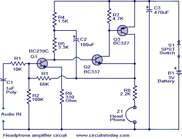 head phone amplifier circuit electronic circuits and diagrams rh circuitstoday com low voltage amplifier circuit diagram high voltage amplifier circuit diagram