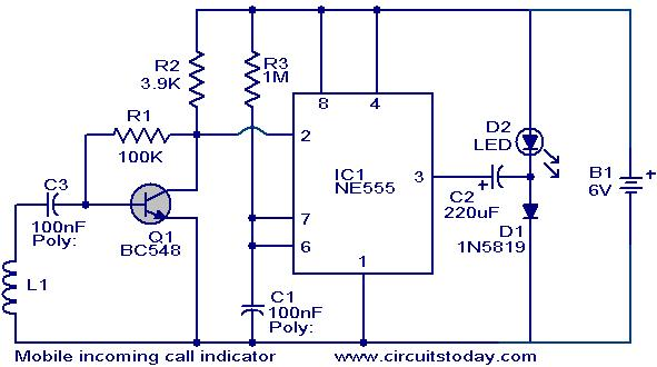 mobile incoming call indicator  electronic circuits and diagram, circuit diagram