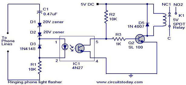 ringing phone flasher circuit1 ringing phone light flasher electronic circuits and diagram Residential Telephone Wiring Diagram at bayanpartner.co