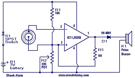 Shock Alarm Circuit on piezo buzzer circuit diagram