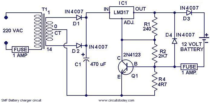 chager circuit for smf batteries electronic circuits and diagrams rh circuitstoday com guest battery charger wiring diagram century battery charger wiring diagram