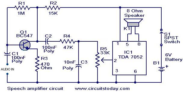 Speech amplifier circuit  - Electronic Circuits and Diagrams