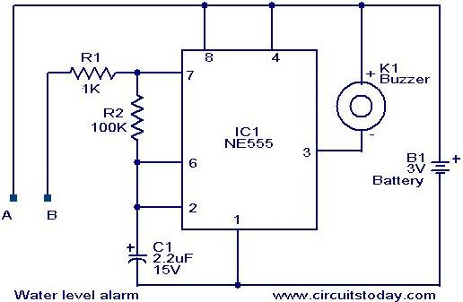 water level alarm circuit using 555 timer,