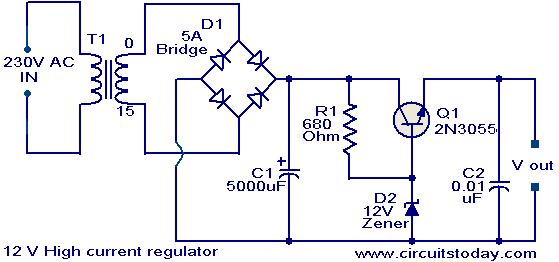 12 v high current regulator electronic circuits and diagrams rh circuitstoday com 7824 regulator circuit diagram voltage regulator circuit diagram pdf