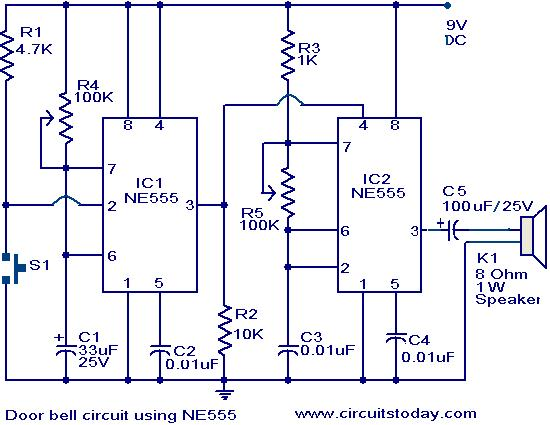 Door Bell Circuit Using Ne555 Electronic Circuits And Diagrams