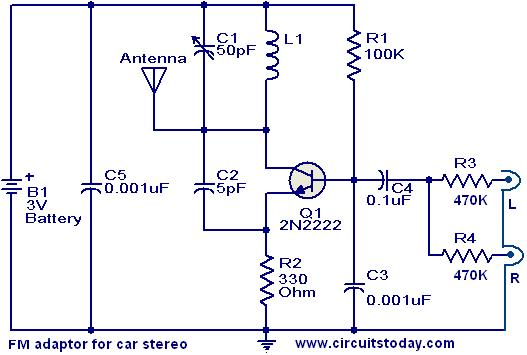 Fm Adaptor Circuit For Car Stereoelectronics Project Circuts
