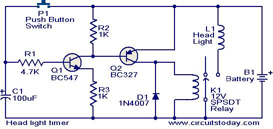 head light timer circuit head light timer circuit electronic circuits and diagrams