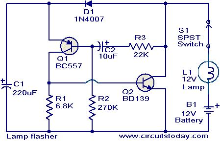 lamp flasher circuit lamp flasher circuit electronic circuits and diagram electronics 12v flasher circuit diagram at sewacar.co